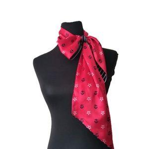 Passigati Scarf nautical red navy silk new